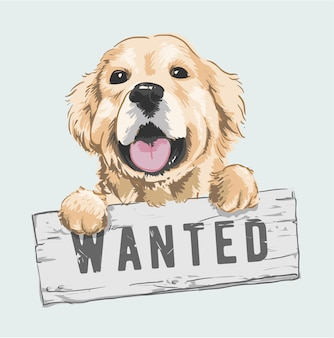 Cartoon dog holding wanted sign illustration