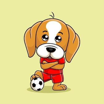 Мультяшная собака играет в футбол