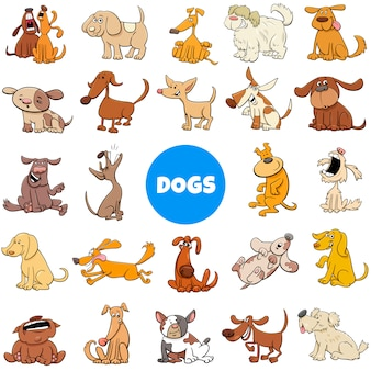 Cartoon dog and puppies characters large set