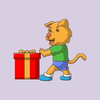 Cartoon dog pushing gift box