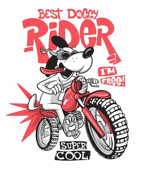 Cartoon dog riding a motorcycle  t-shirt