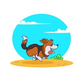 通りを走っている漫画の犬。明るくカラフルなイラスト
