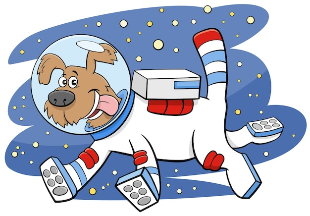 Cartoon dog in space comic animal character