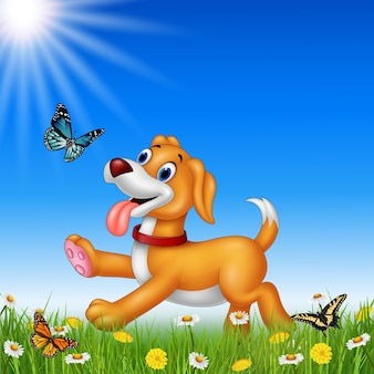 Cartoon dog with nature background