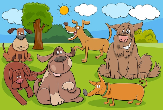만화 개와 강아지 재미있는 문자 그룹