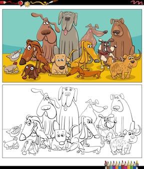 Мультяшные собаки животные персонажи группа раскраски страницы книги
