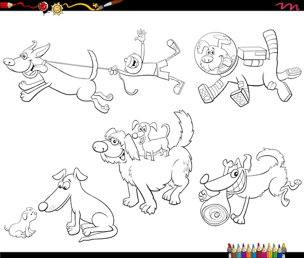 Cartoon dogs animal characters set coloring book page