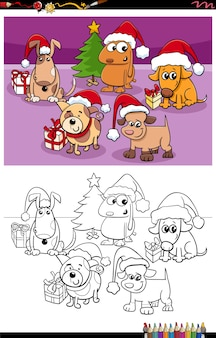 Cartoon dogs group on christmas time coloring book page