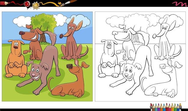 漫画の犬のグループの塗り絵のページ