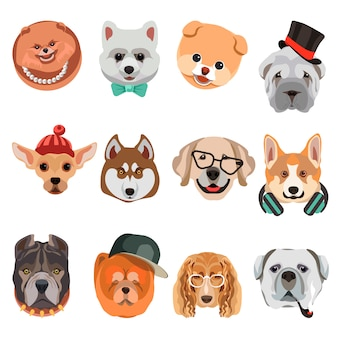 Cartoon dogs and hipster puppy face muzzles vector icons