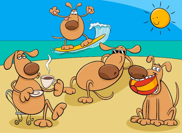 Cartoon dogs on holiday vacation