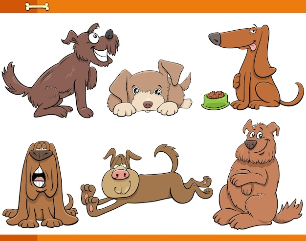 Cartoon dogs and puppies animal comic characters set
