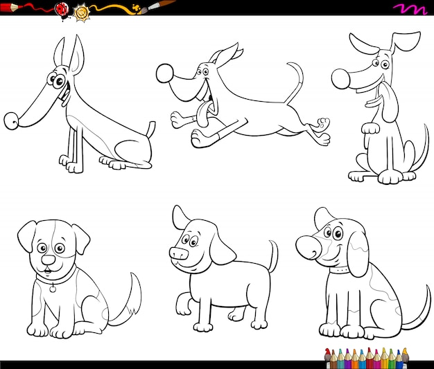 Cartoon dogs and puppies coloring book page
