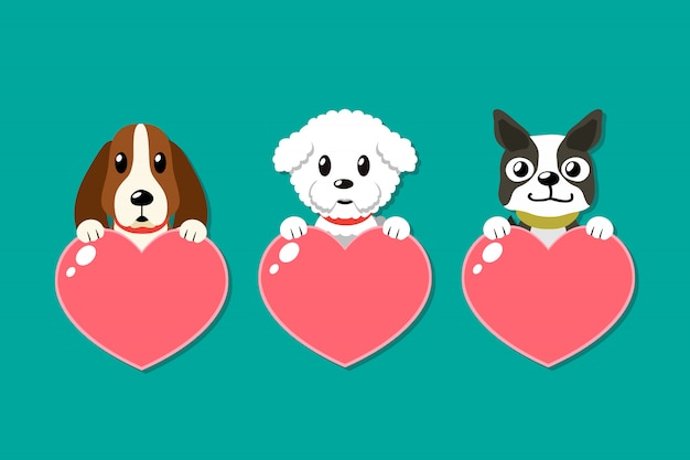 Cartoon dogs with heart signs set