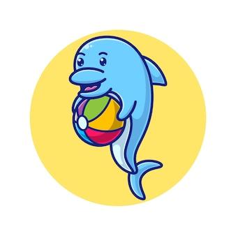 Мультяшный дельфин с мячом