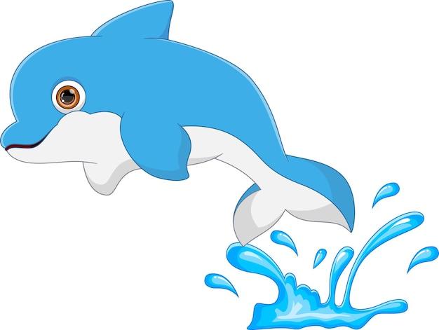 흰색 배경에 만화 돌고래 점프