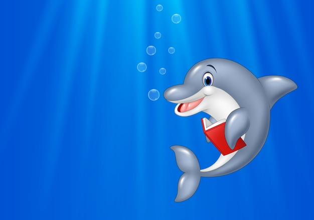 Cartoon dolphin reading book with deep sea background