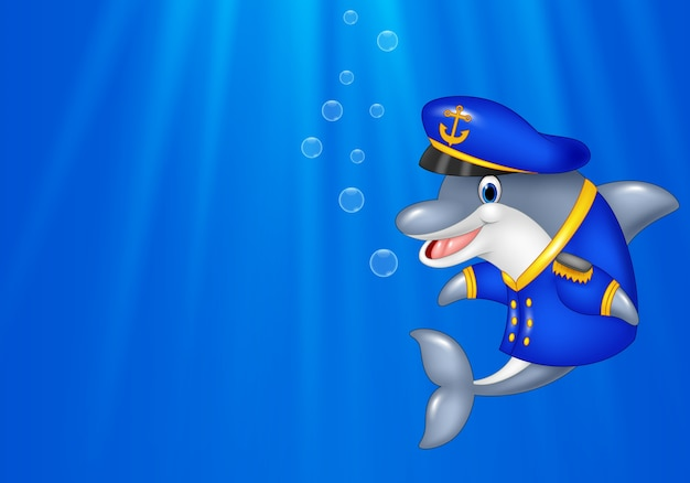 Cartoon dolphin wearing captain uniform