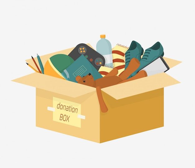 Cartoon donation box with lettering inscription full of things for aid people  illustration