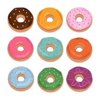 Мультяшные пончики, изолированные на белом фоне. пончик в коллекцию глазури. сладкие пончики.