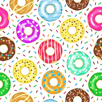 Cartoon donuts seamless pattern