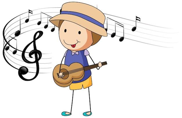 멜로디 기호로 기타를 연주하는 소년 만화 낙서