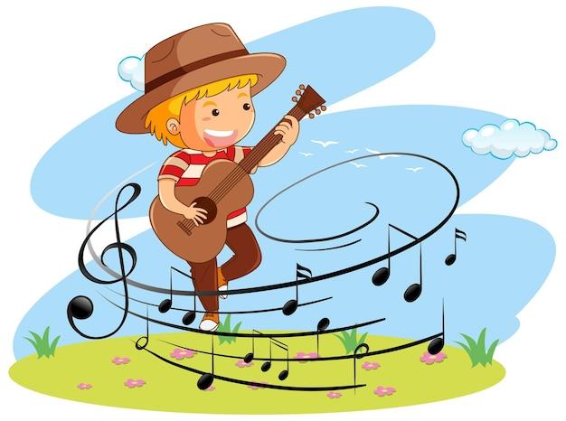 Мультфильм каракули мальчик играет на гитаре с символами мелодии