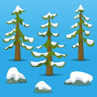Cartoon doodle abstract mountaion pine tree snow