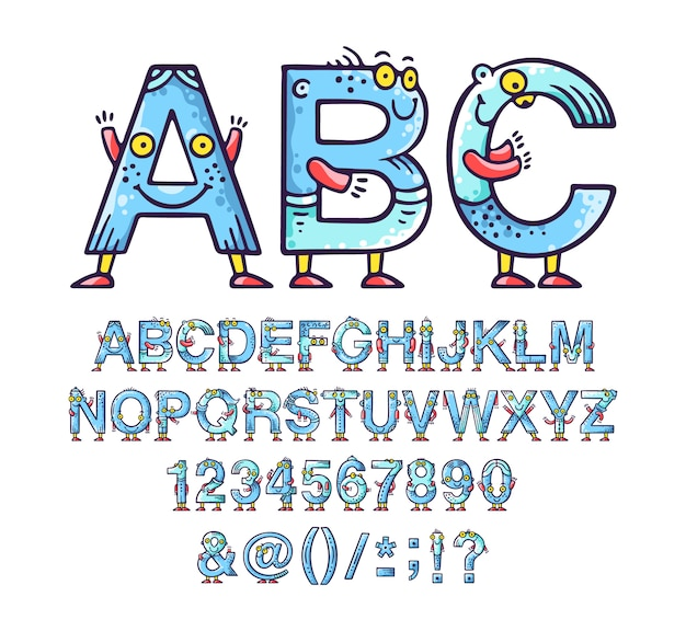 Cartoon doodle alphabet or font with eyes and smiles for kids