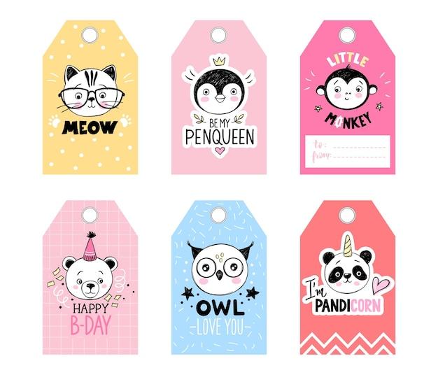 Cartoon doodle animals tags set.