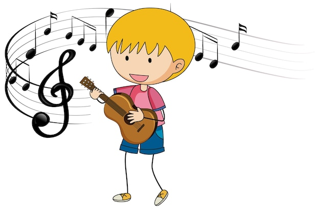 Cartoon doodle a boy playing guitar with melody symbols