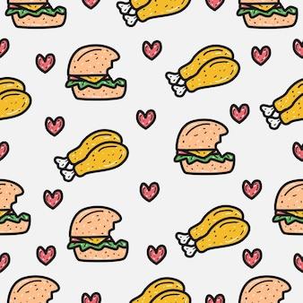 만화 낙서 햄버거와 치킨 패턴 디자인