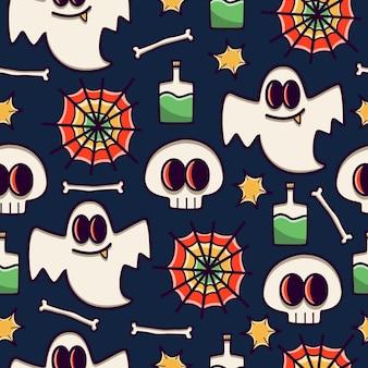 만화 낙서 유령 완벽 한 패턴 디자인
