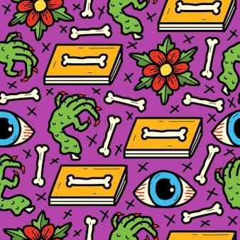 만화 낙서 귀여운 문신 패턴 디자인