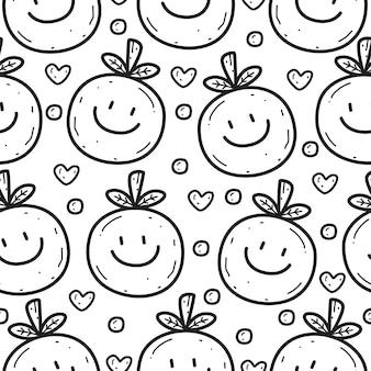 만화 낙서 오렌지 원활한 패턴