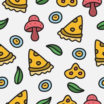 Cartoon doodle pizza pattern design