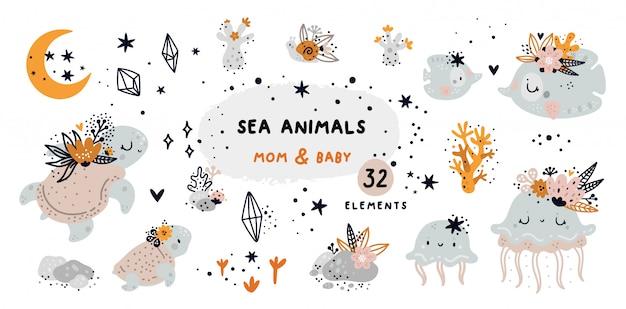 Мультяшный каракули с морскими животными и элементами кораллового рифа