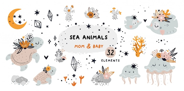 Cartoon doodle set with sea animals and coral reef elements