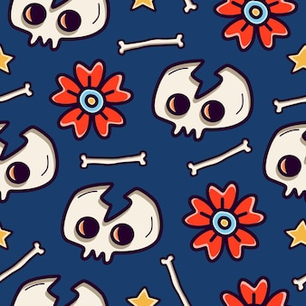 Cartoon doodle skull seamless pattern design
