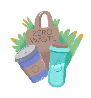 Cartoon doodle style illustration in hipster style with things for reuse cup for hot drink, bottle for water and eco-bag. zero waste, eco friendly, save the planet from trash concepts.