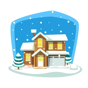 Cartoon doodle winter big house neighborhood scene
