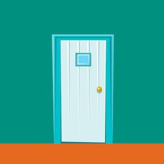 Мультфильм дверь на фоне зеленой стены векторные иллюстрации в мультяшном стиле изолированные клипарт