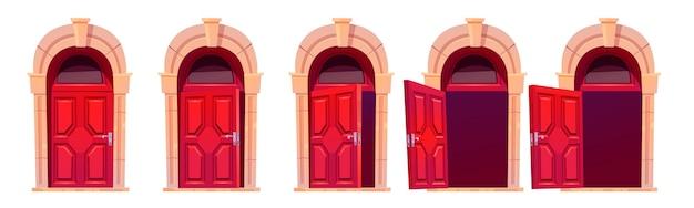 만화 문 열기 모션 시퀀스 애니메이션. 석조 아치와 유리창이있는 빨간색 나무 출입구를 닫고 약간 열려서 엽니 다. 홈 외관 디자인 요소, 입구. 벡터 일러스트 세트