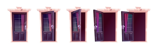 Cartoon door opening motion sequence animation. close, slightly ajar and open wooden doorways with glass windows, curtain and darkness inside. home facade, entrance. illustration, icons set