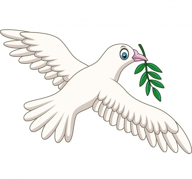 Cartoon dove with an olive branch