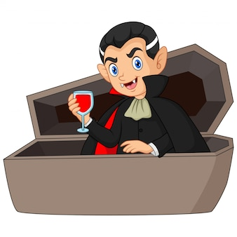 Cartoon dracula drink blood in coffin