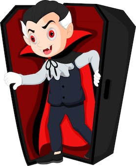 Cartoon dracula waking up in coffin