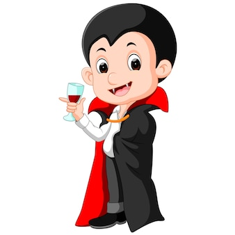 Cartoon dracula with glass of blood