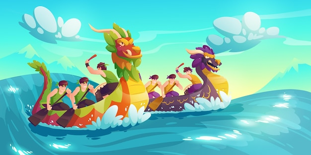 Cartoon dragon boat background