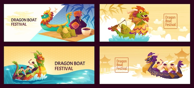 Cartoon dragon boat banners set